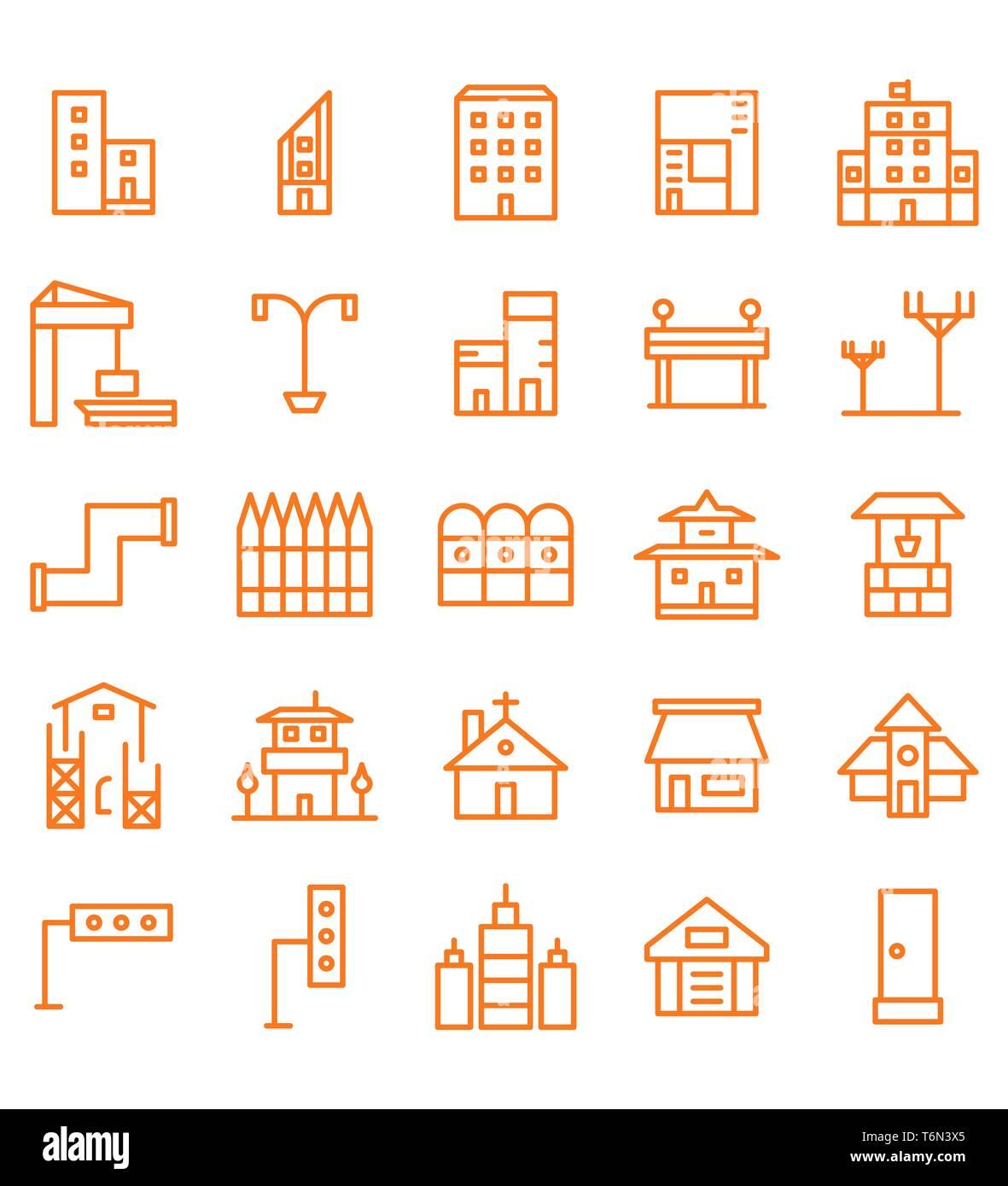 Set di edilizia e immobili city linea arancione illustrazione vettoriale Icona o simbolo. Corsa modificabile e colore Immagini Stock