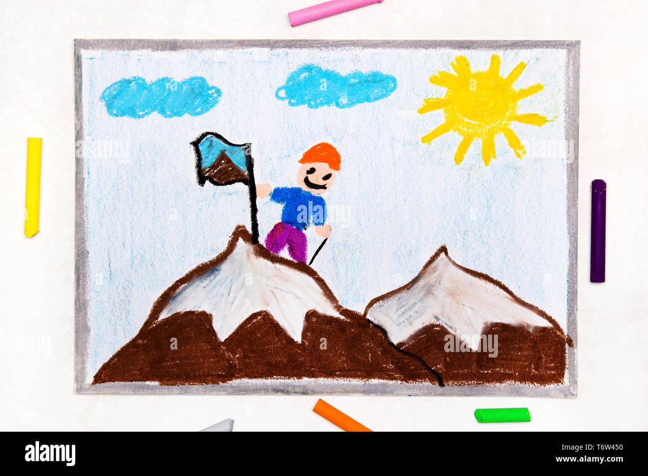 Disegno Colorato Per Raggiungere La Vetta Di Una Montagna