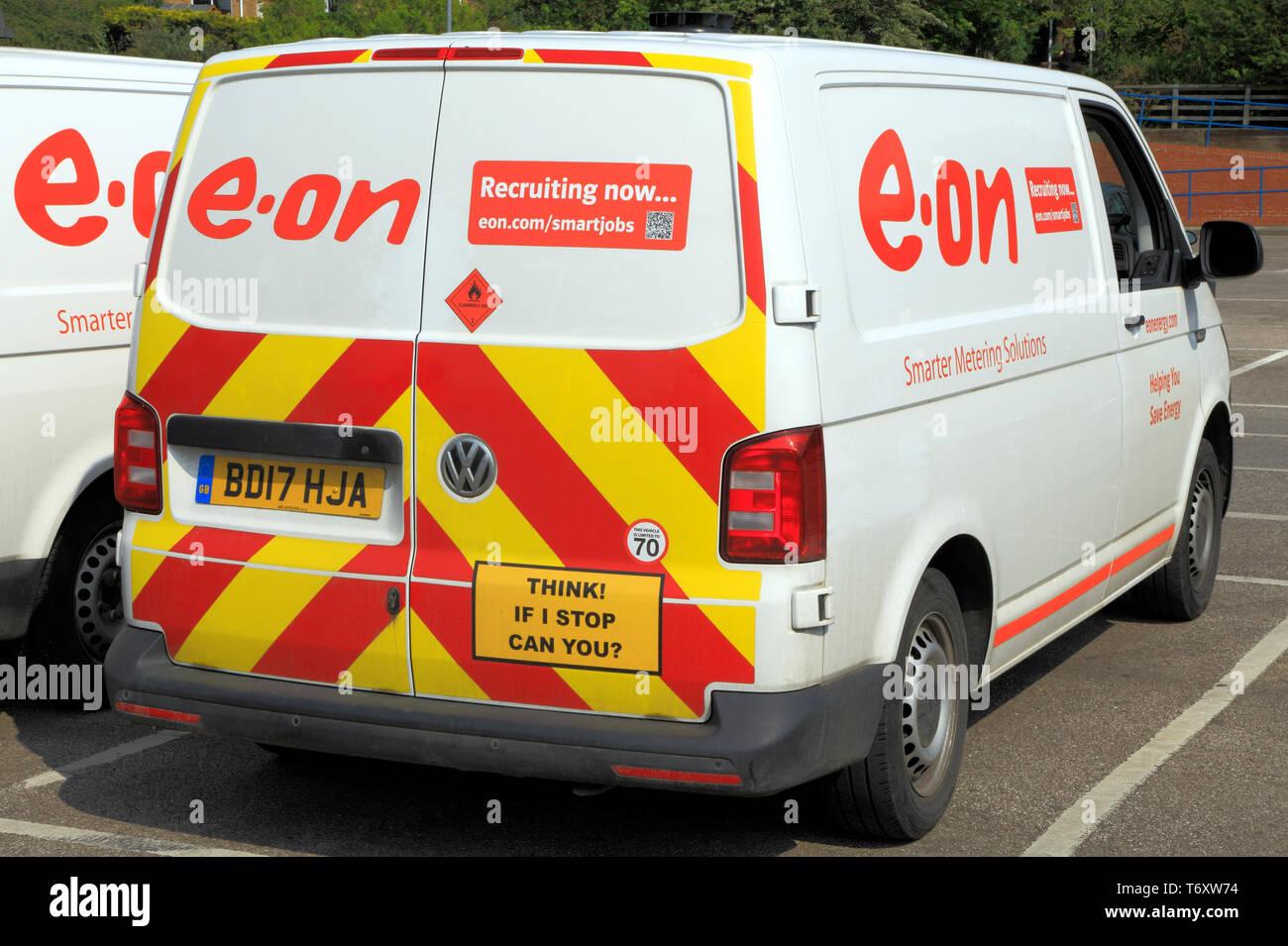 E.on, E.ON. elettricità, fornitore, UK, van, veicolo Immagini Stock