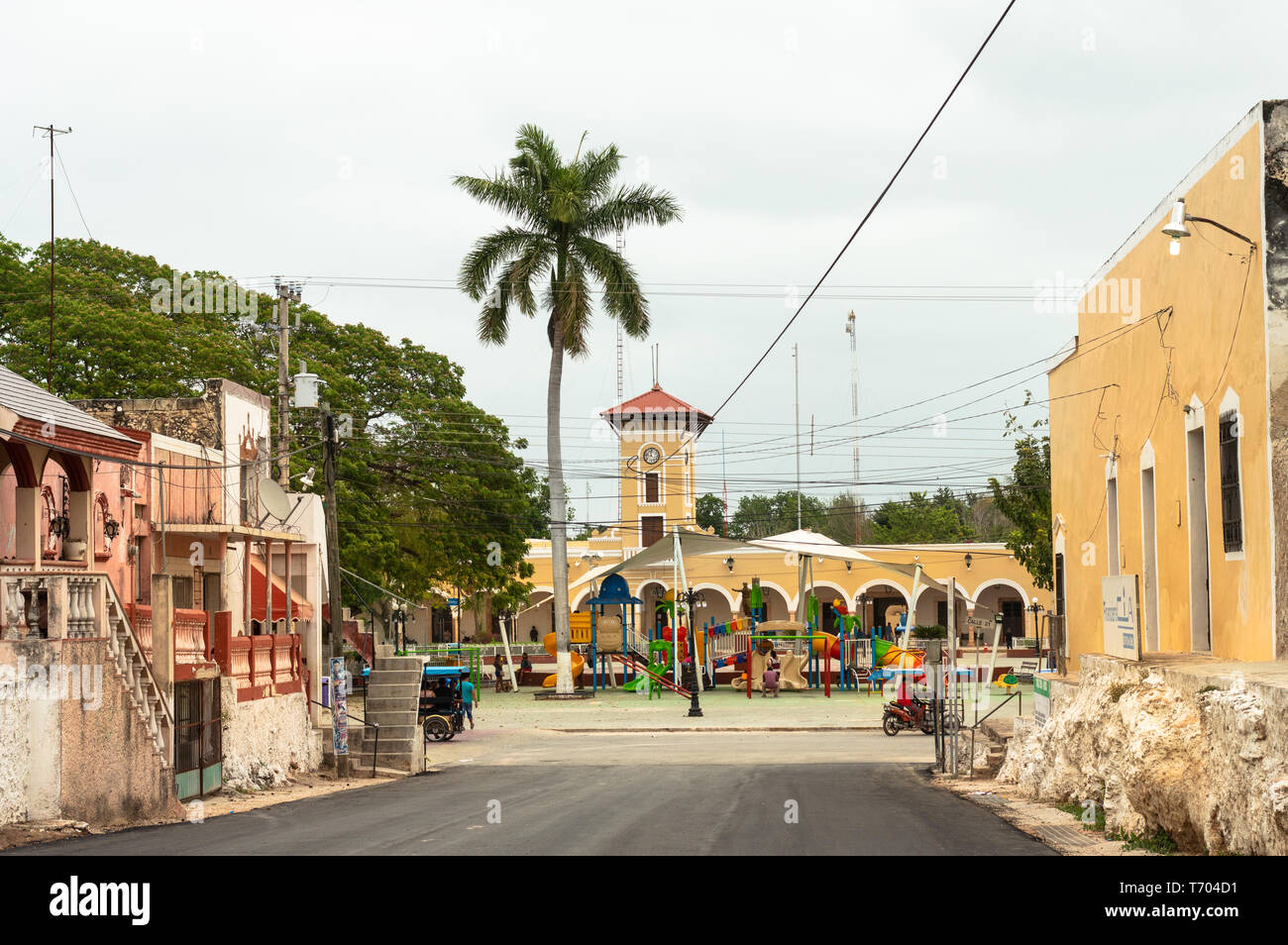 Vista della piazza principale di Maxcanu, Yucatan. Immagini Stock