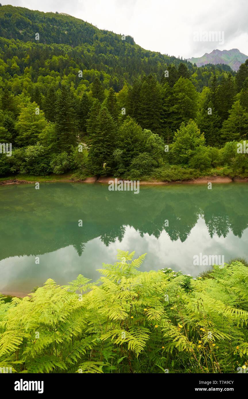 Lac d'Anglus lago in diede d' Aspe fiume circondato da boschi misti con Gabedallos picco in corrispondenza della estremità lontana (valle di Aspe, Pyrénées-Atlantiques, Francia) Immagini Stock