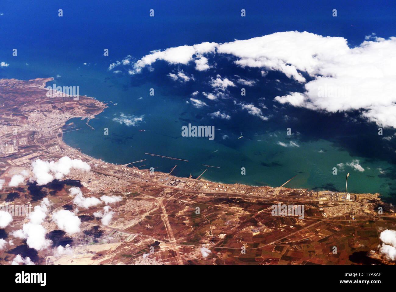 Vista aerea della costiera in Algeria. Immagini Stock