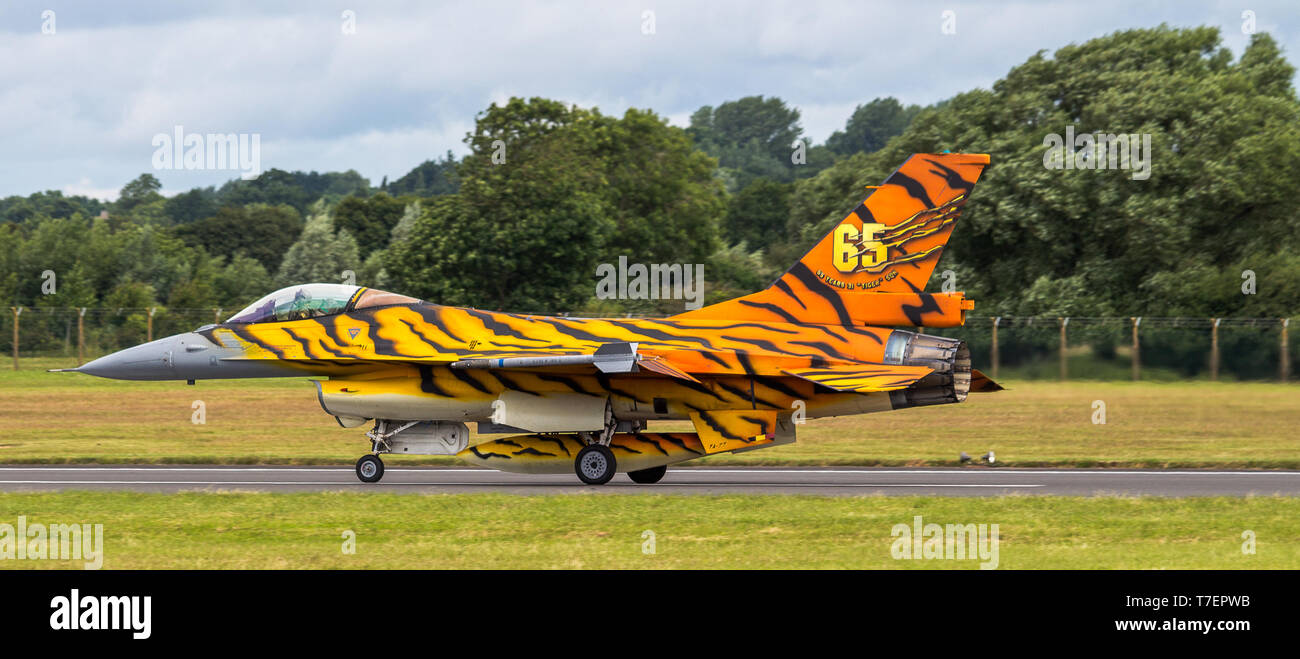 General Dynamics F-16A Fighting Falcon dal Belgio Royal Air Force. Immagini Stock