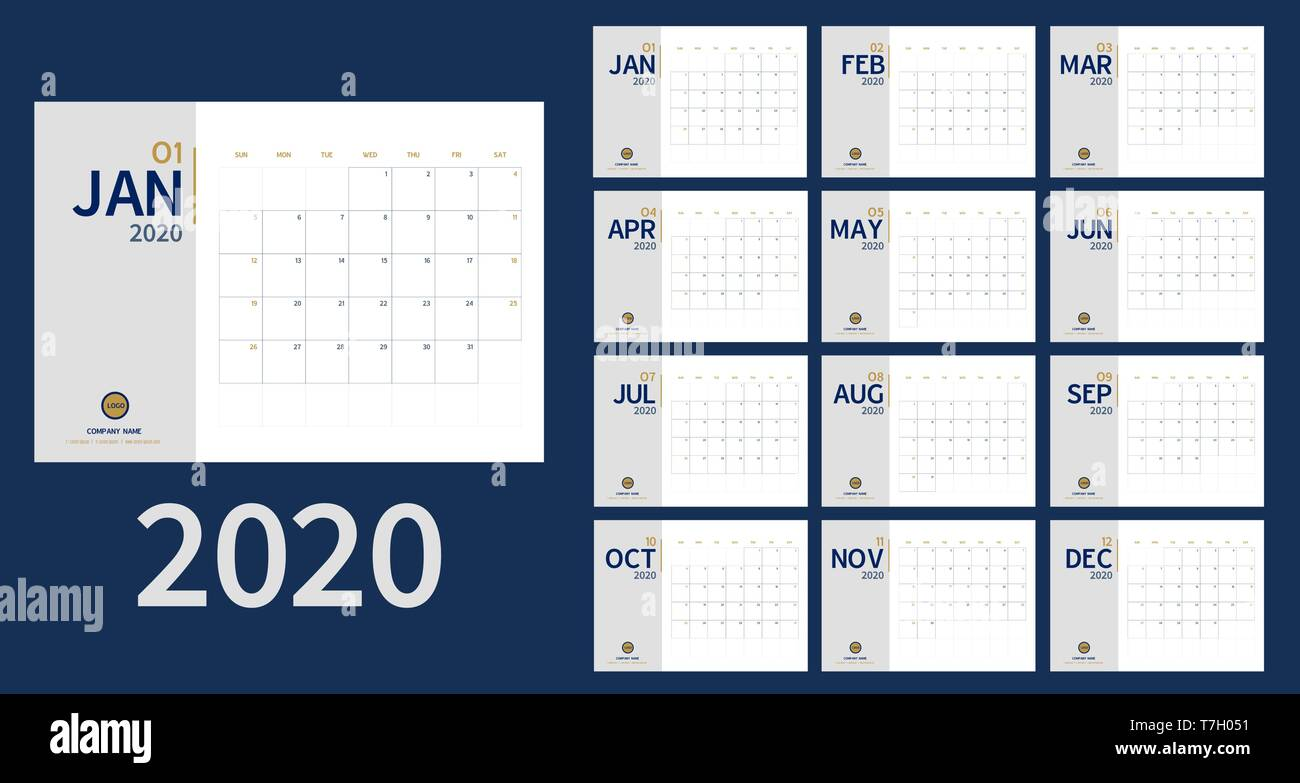 Feste Calendario 2020.Vettore Di 2020 Anno Nuovo Calendario Nel Pulire Il Tavolo