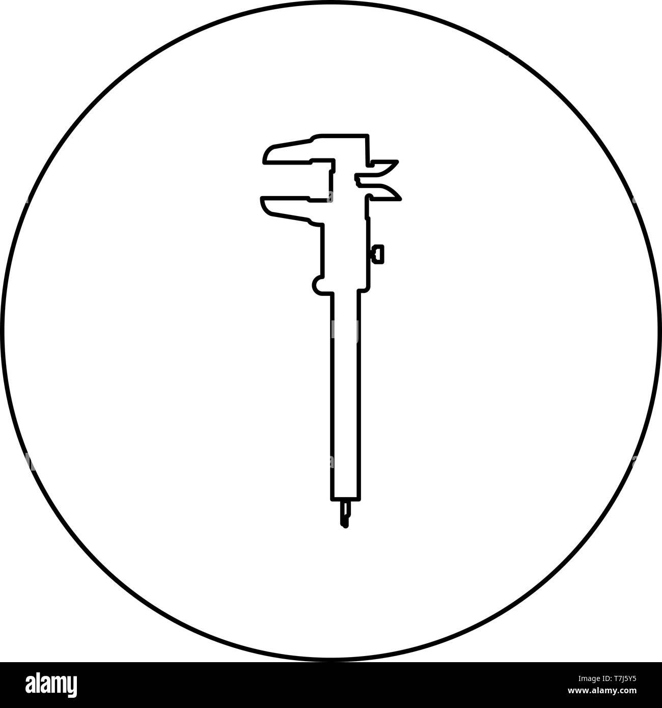 Mano a pinza pinza pinza scorrevole del calibro a corsoio calibro gage slitta gage Trammel icona nel cerchio sagoma tonda colore nero illustrazione vettoriale Illustrazione Vettoriale