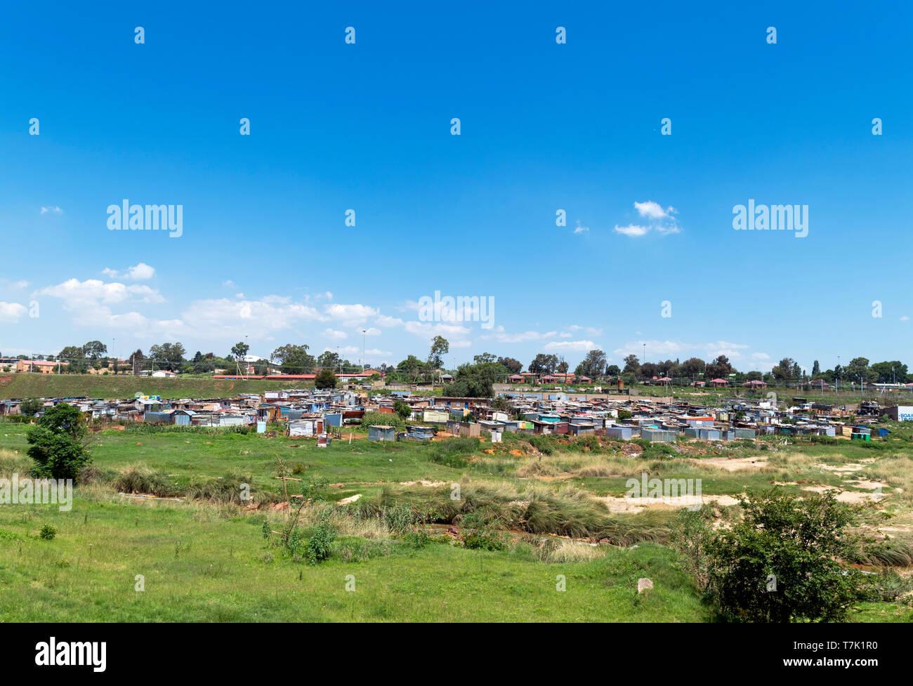 Baraccopoli abitazioni di Orlando West, Johannesburg, Sud Africa Foto Stock