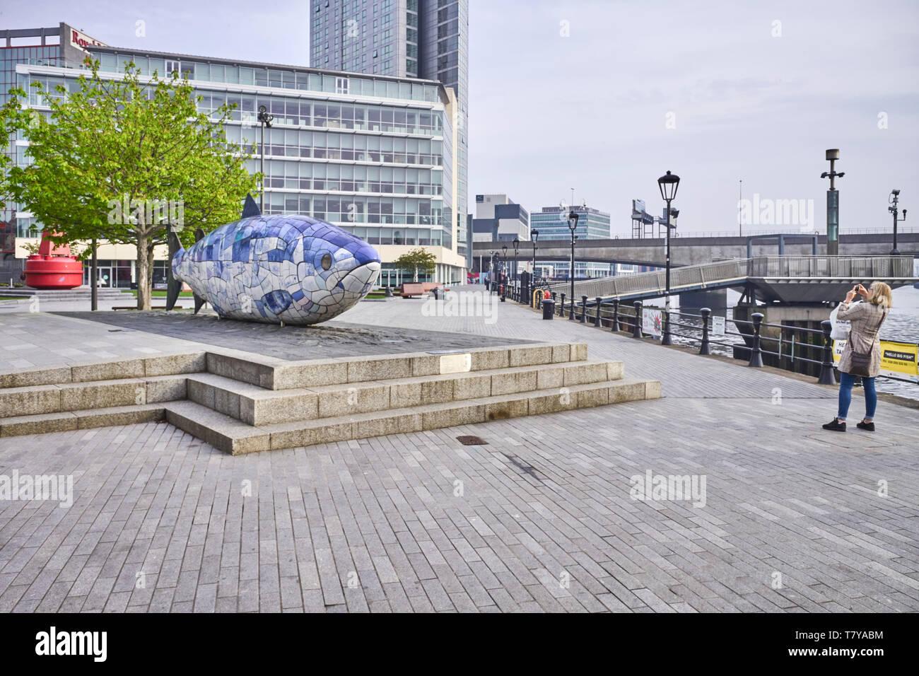 Il salmone della conoscenza scultura di Giovanni gentilezza in Donegall Quay, Belfast, Irlanda del Nord Immagini Stock