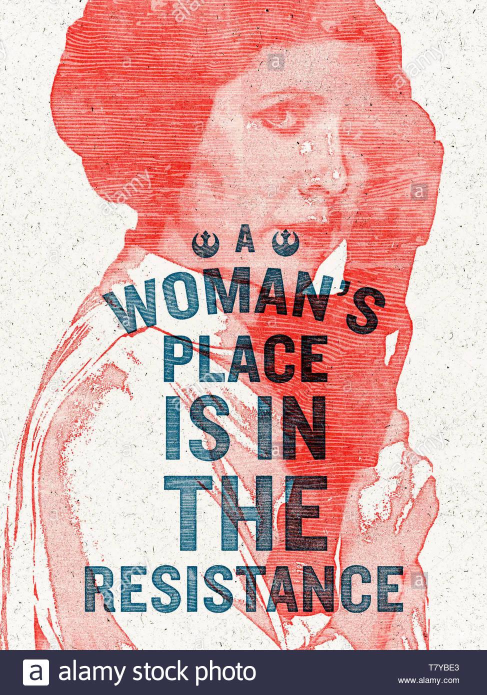 """""""Una donna è la resistenza"""" 2017 iconico i diritti della donna protesta poster concepito da graphic designer ed artista Hayley Gilmore per le donne del marzo a Washington il 21 gennaio 2017. Vedere la descrizione per maggiori informazioni. Immagini Stock"""