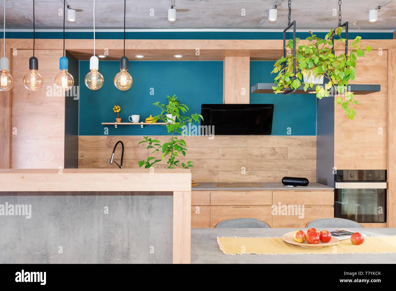 Arredamento moderno e di cucina di lusso. Minimalista ...