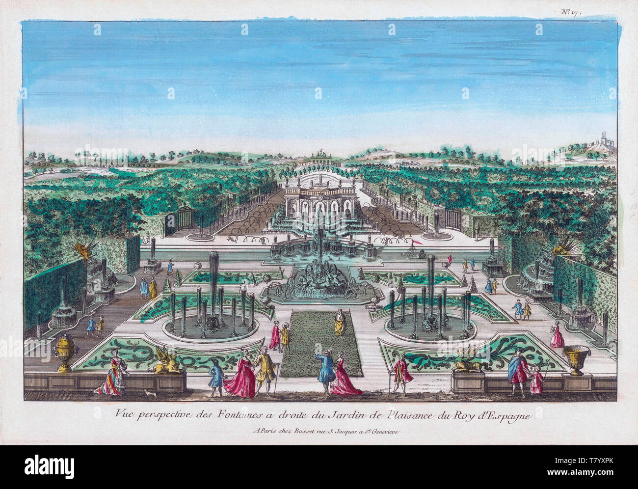 Prospettiva Vue des Fontaines à droite du Jardin de Plaisance du Roy d'Espagne. Vista prospettica delle fontane a destra del piacere giardino del re di Spagna. Dopo un colorate a mano del XVIII secolo la stampa. Immagini Stock