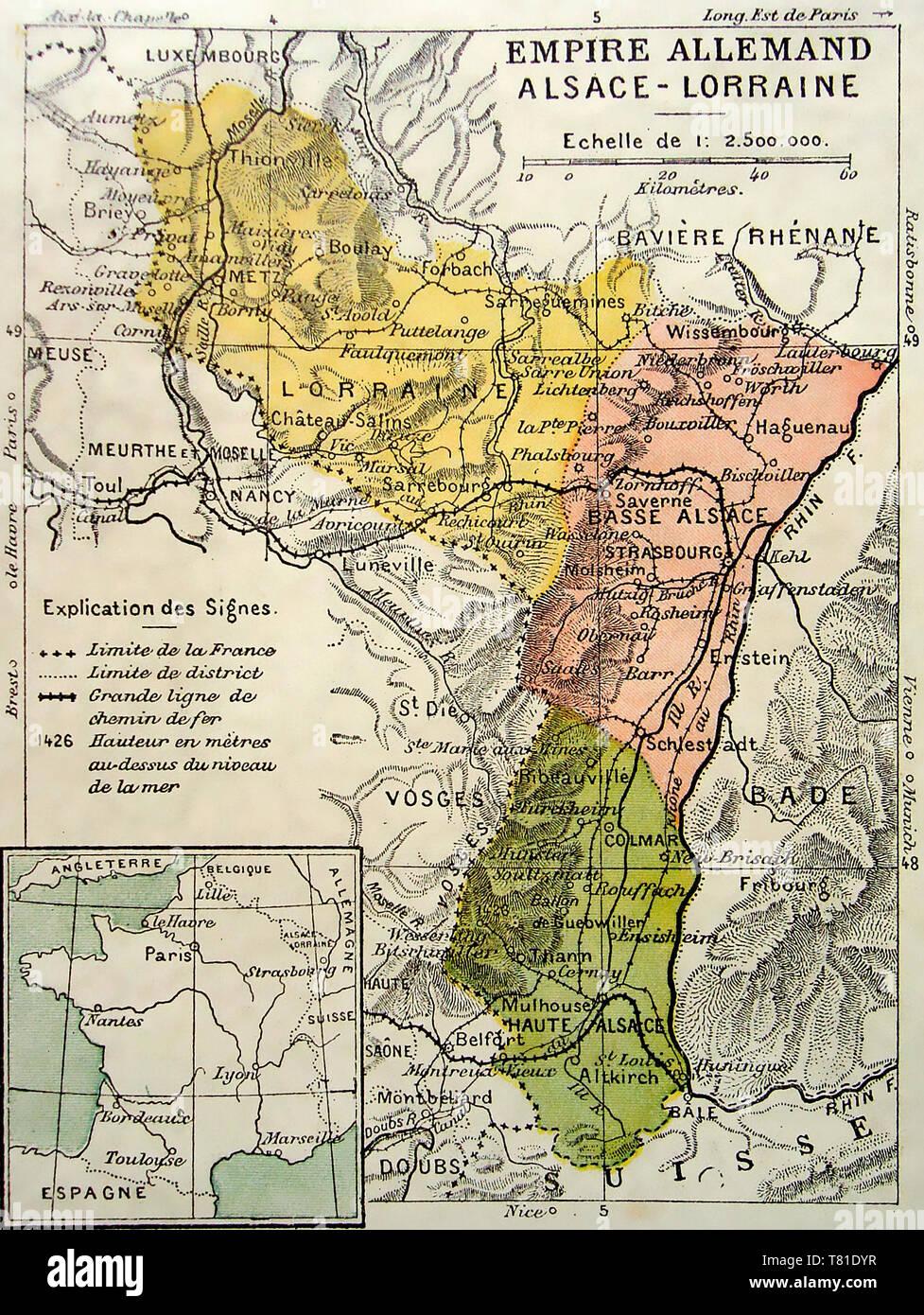 Mappa di Alsazia-Lorena, circa 1910 Immagini Stock