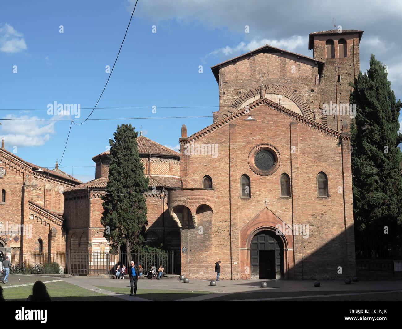 Vista della Basilica di Santo Stefano in Piazza Santo Stefano a Bologna Italia Immagini Stock