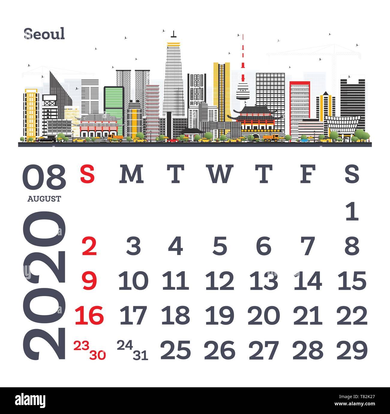Calendario Agosto 2020.Agosto 2020 Calendario Modello Con Seoul Lo Skyline Della