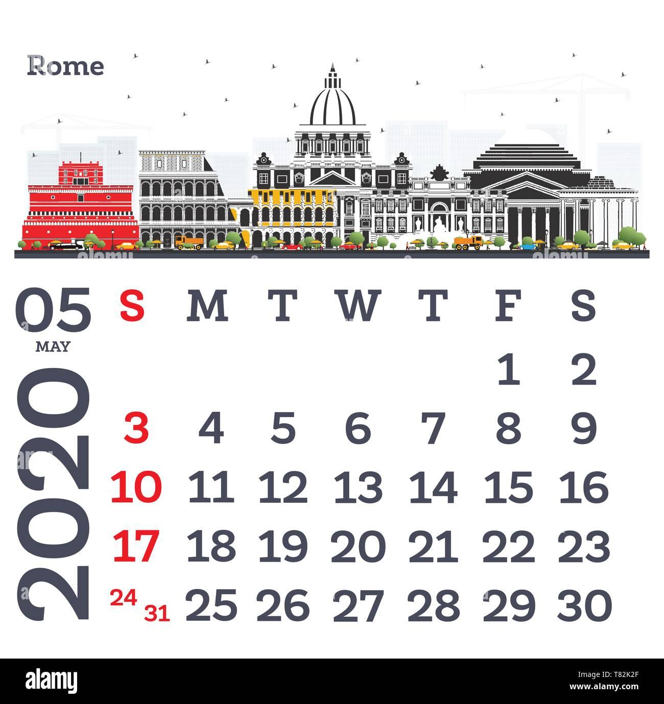 Calendario Maggio 2020.Maggio 2020 Calendario Modello Con Roma Lo Skyline Della