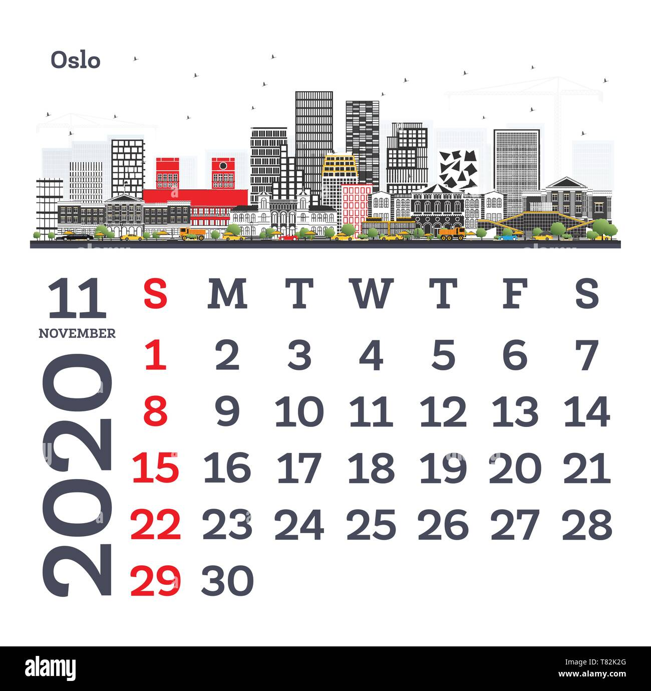 Novembre 2020 Calendario.Novembre 2020 Calendario Modello Con Oslo Skyline Della