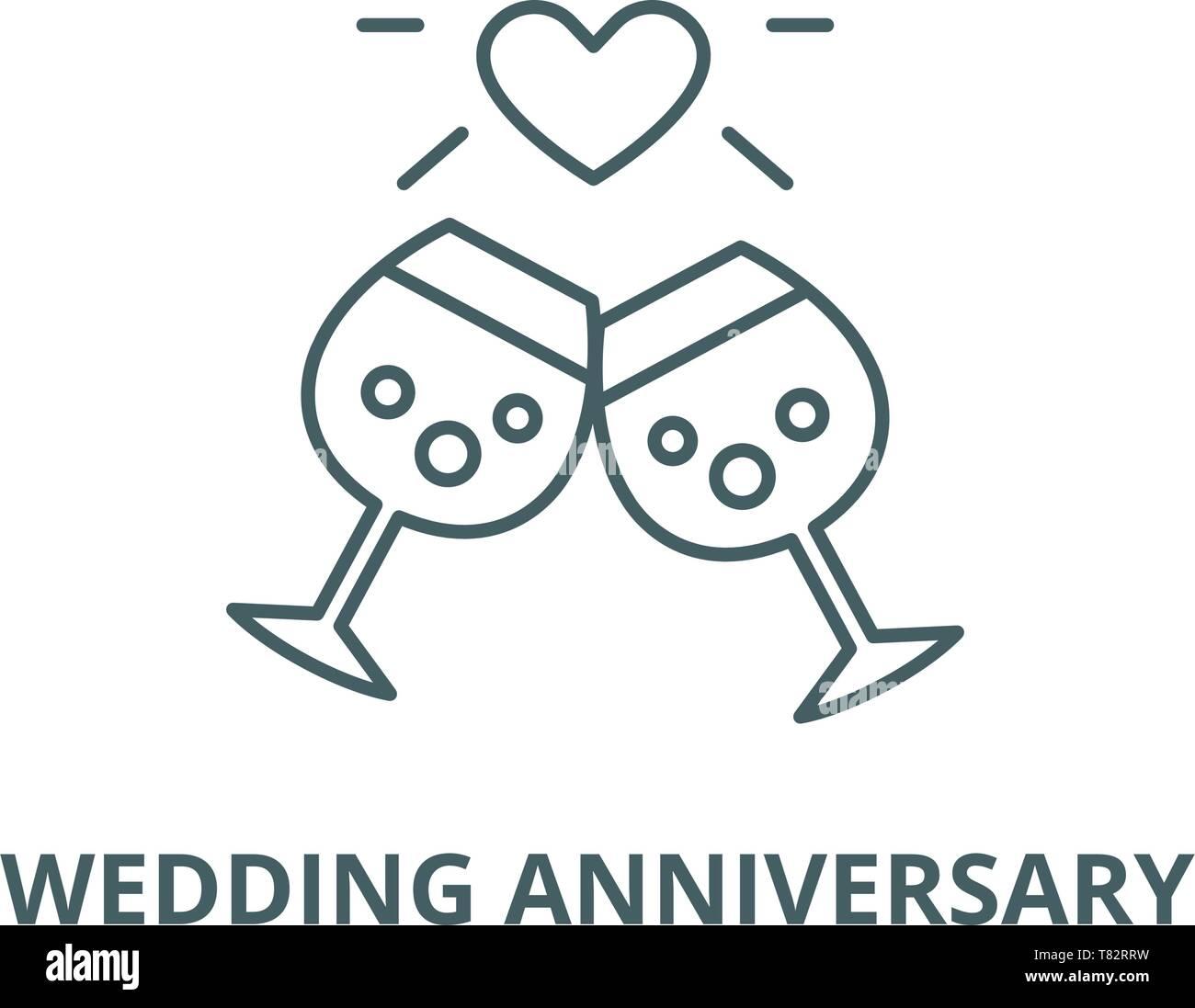 Anniversario Di Matrimonio Simboli.Anniversario Di Matrimonio Linea Del Vettore Icona Concetto