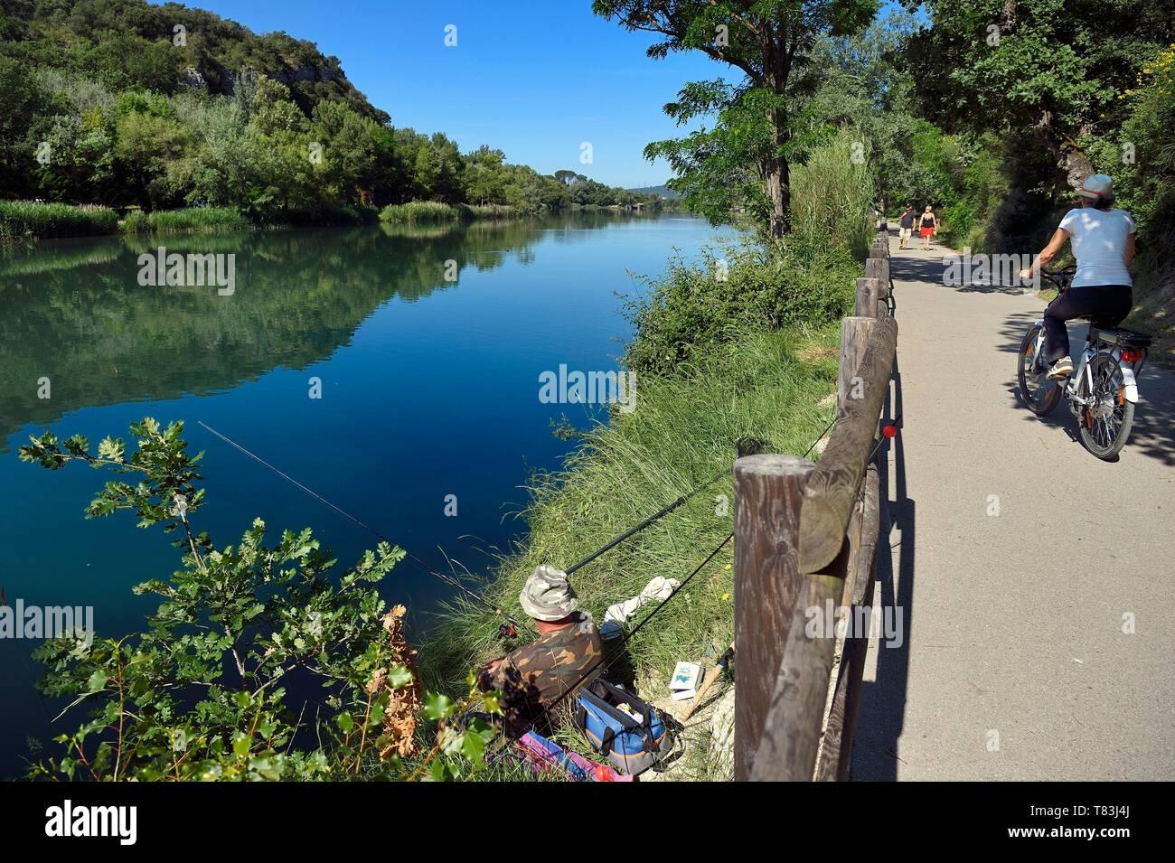 Francia, Alpes de Haute Provence, Parc Naturel Regional du Verdon (Parco naturale regionale del Verdon), Greoux les Bains, le rive del fiume Verdon percorso in bicicletta, pesca alla trota Foto Stock