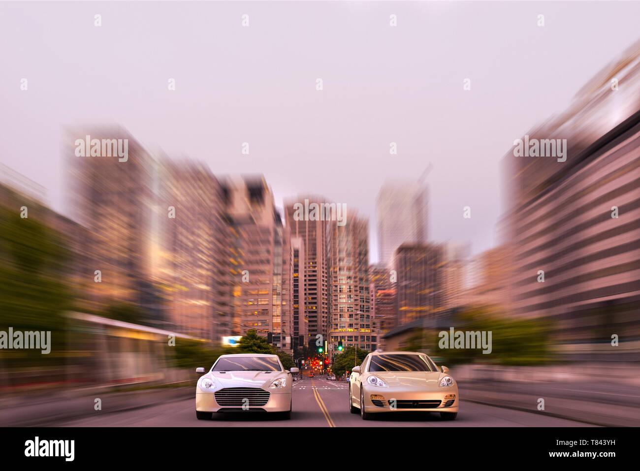 3D rendering di due luxury sports car racing nel mezzo del centro cittadino di Seattle, Stati Uniti d'America Immagini Stock