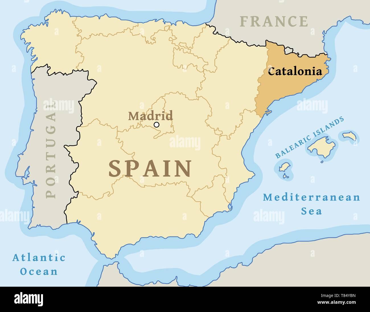 Cartina Della Spagna Geografica.Catalogna Cartina Immagini E Fotos Stock Alamy