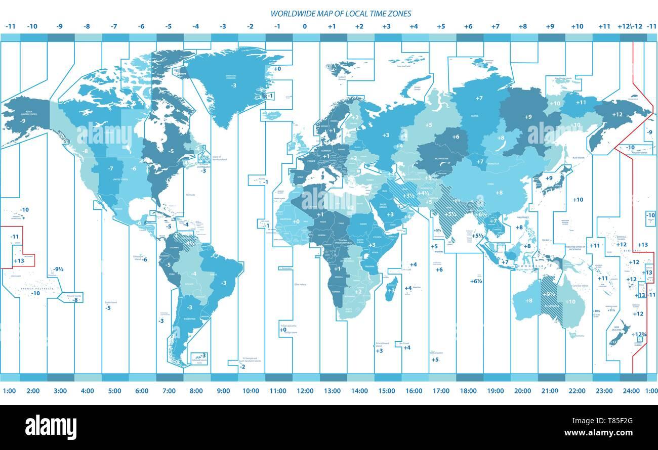 Cartina Fuso Orario Mondo.Mappa Dei Fusi Orari Immagini E Fotos Stock Alamy