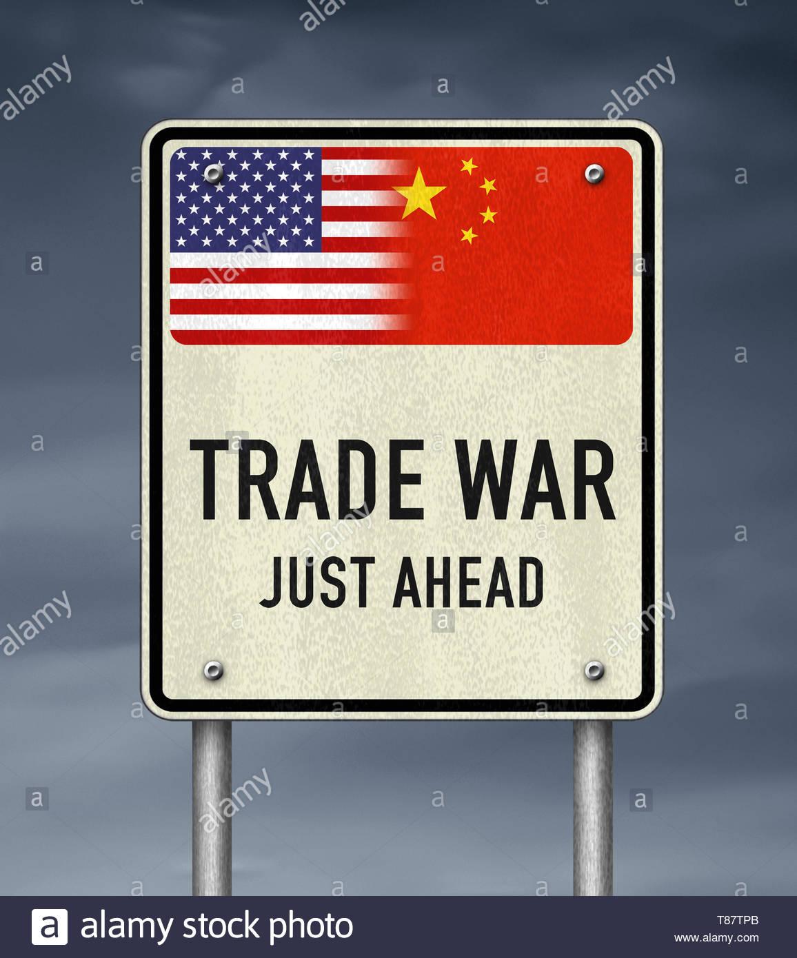Guerra commerciale tra Stati Uniti e Cina Immagini Stock