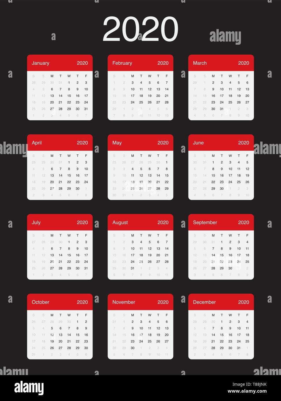 Settimane Calendario 2020.Calendario 2020 Pulire Il Minimo Vettore Semplice Design Con