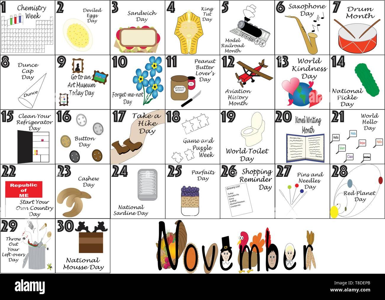 Novembre 2020 Calendario.Novembre 2020 Calendario Illustrato Con Daily Quirky