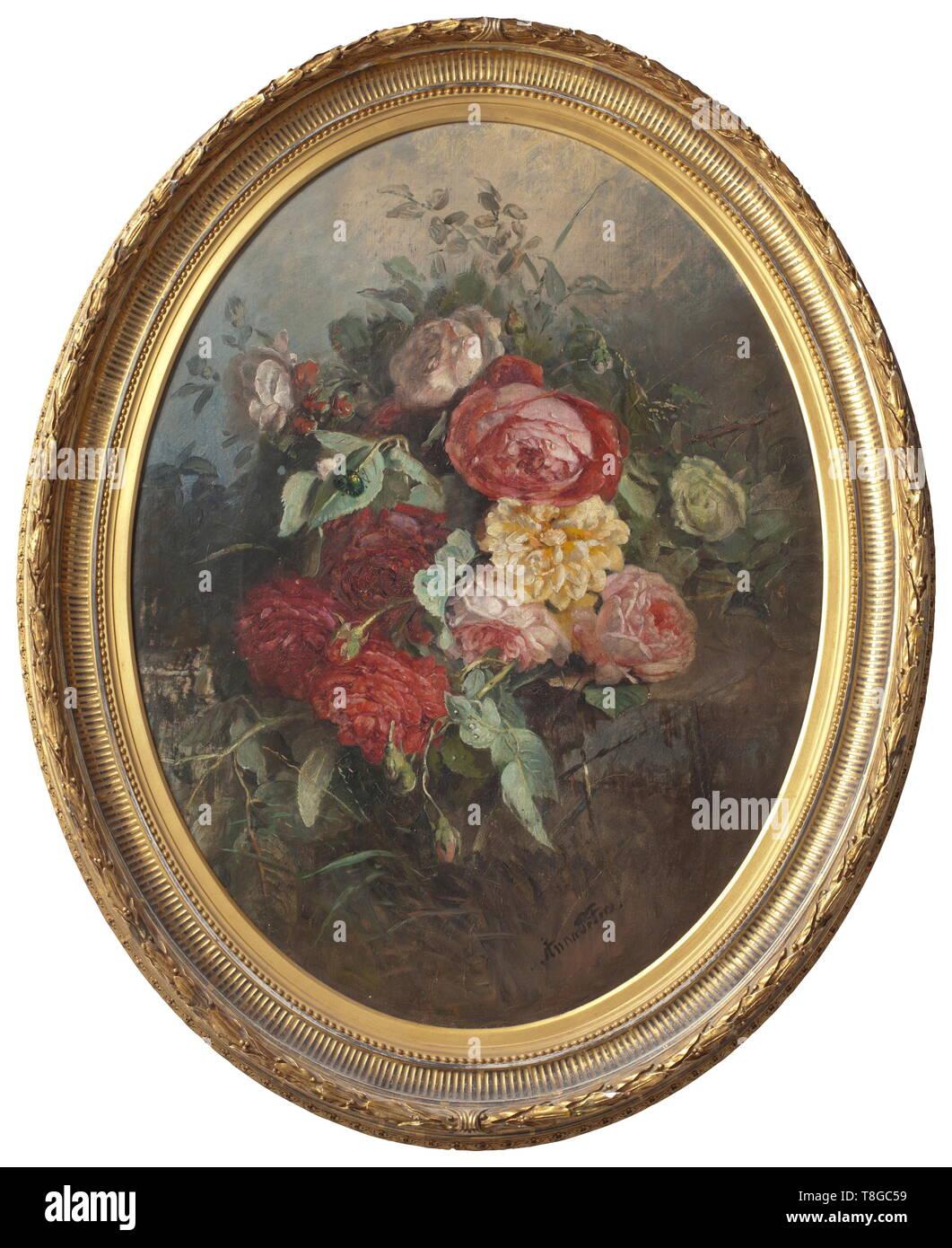 Anna Peters (1843 - 1926) - Un ovale floral still life con le peonie, circa 1880 olio su tela. Firmato in basso a destra 'Anna Peters'. In un gesso dorato telaio (con il minimo di scheggiatura). Sul lato opposto dei resti di una etichetta di inventario della Granduchessa Olga Nikolaevna Romanova. Leggermente strofinata. Dimensioni della pittura di 70 x 53 cm, dimensioni del telaio 87 x 70 cm. Anna Peters - celebre pittore tedesco di fiori. Ha lavorato a Stoccarda. I suoi dipinti possono essere trovati presso il museo municipale in Biberach, presso il museo di Stoccarda come pure in forma, Additional-Rights-Clearance-Info-Not-Available Immagini Stock