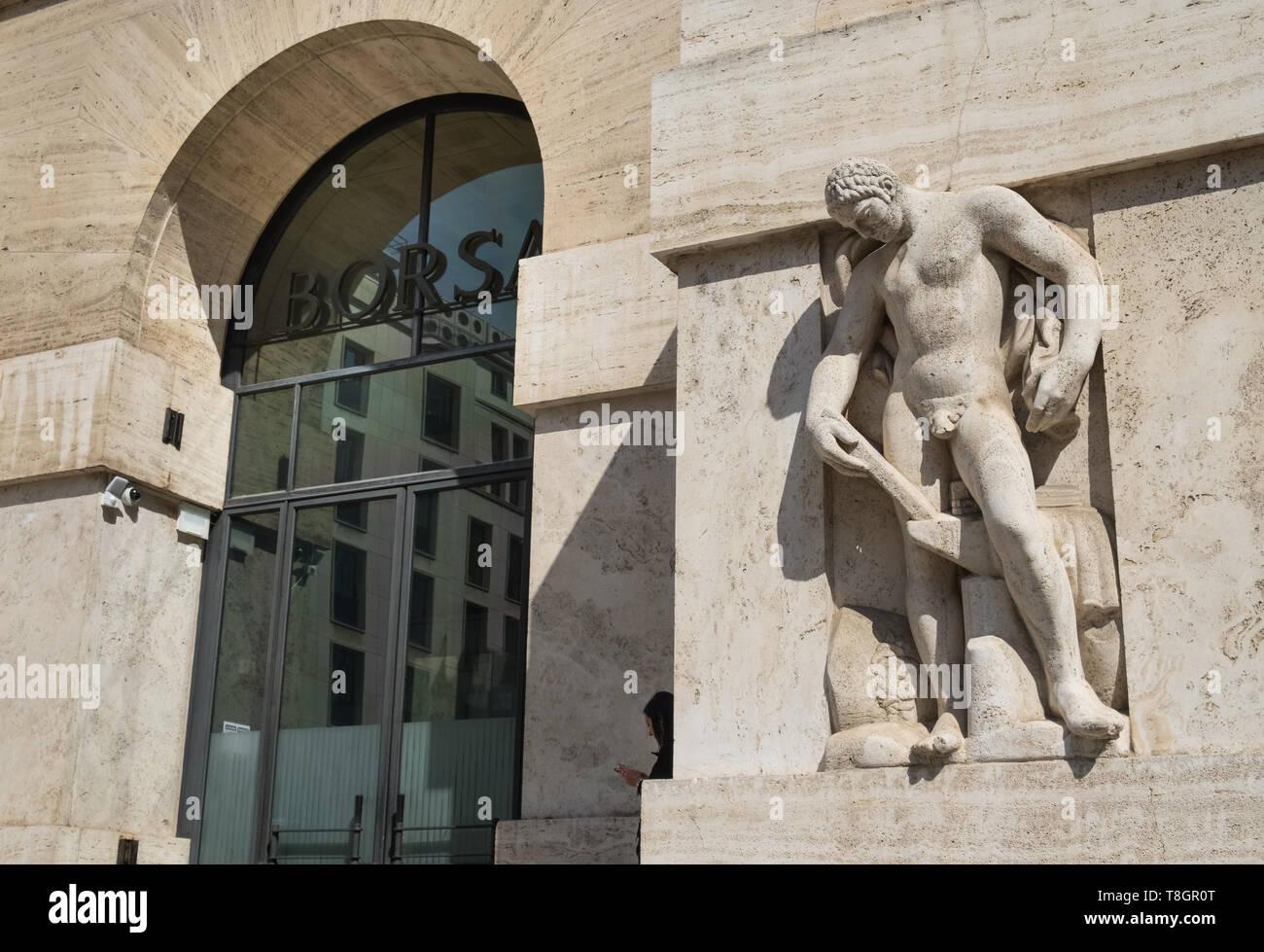baa11fd6fe Sezione esterna di Milano Borsa, Borsa Italiana edificio, Palazzo  Mezzanotte, Milano, lombardia