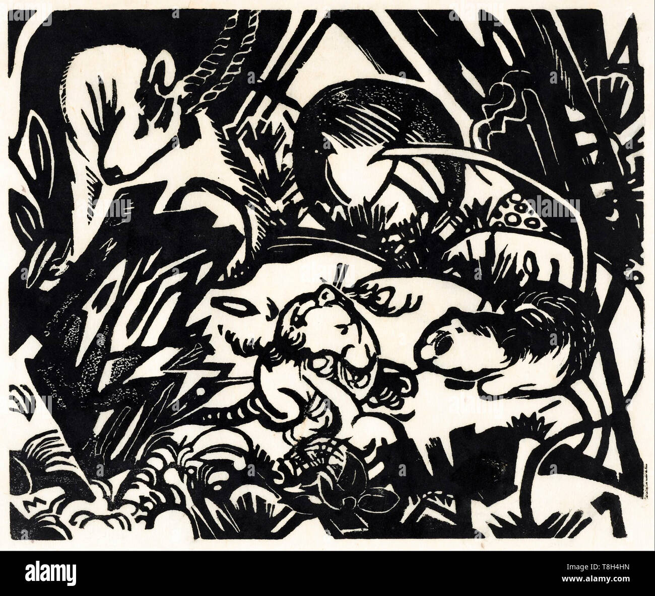 Franz Marc, animale legenda, xilografia stampa, 1912 Immagini Stock