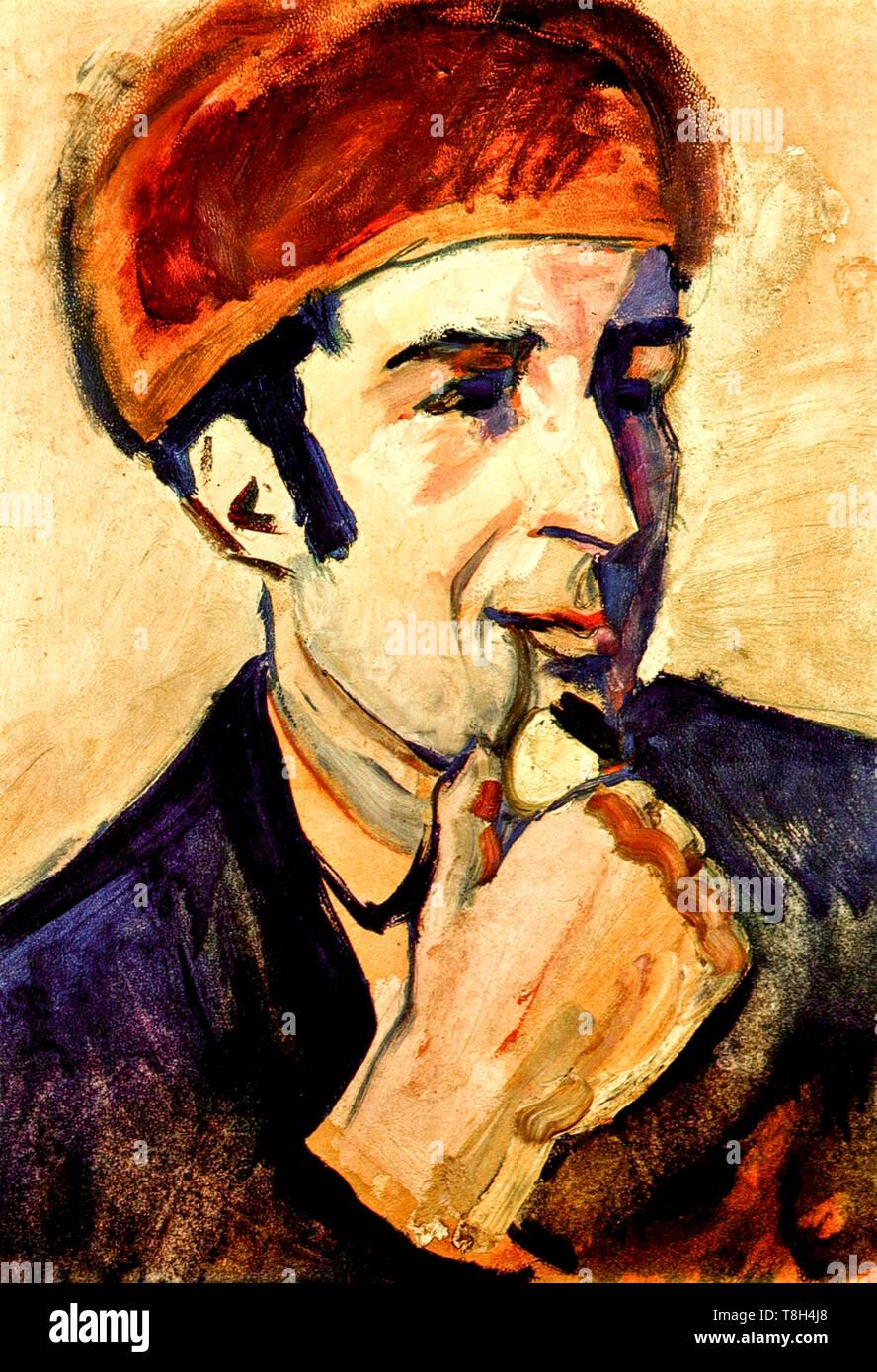 August Macke, ritratto di Franz Marc (1880-1916), pittura, 1910 Immagini Stock