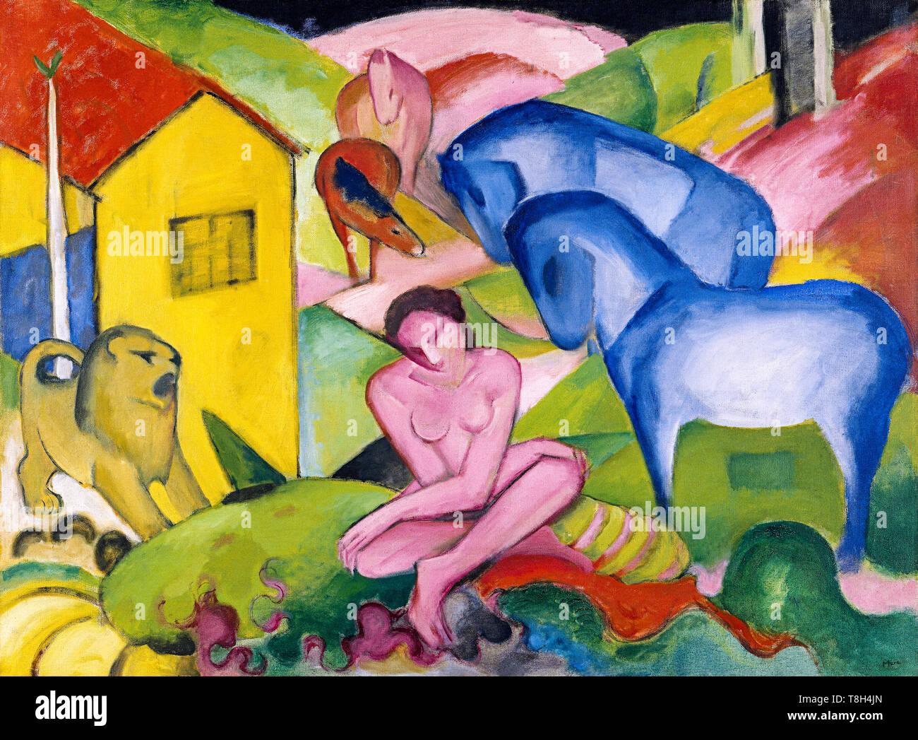 Franz Marc, il sogno, pittura, 1912 Immagini Stock