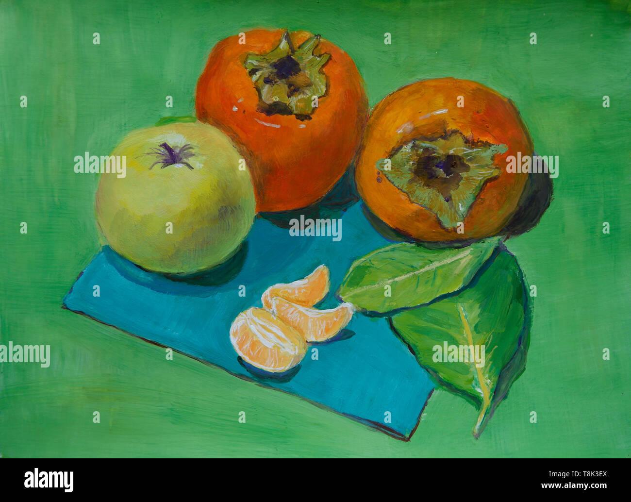 Ancora vita gouache pittura con kaki, Apple, mandarino, lemon tree lascia mele dateplum gouache mandarino Immagini Stock