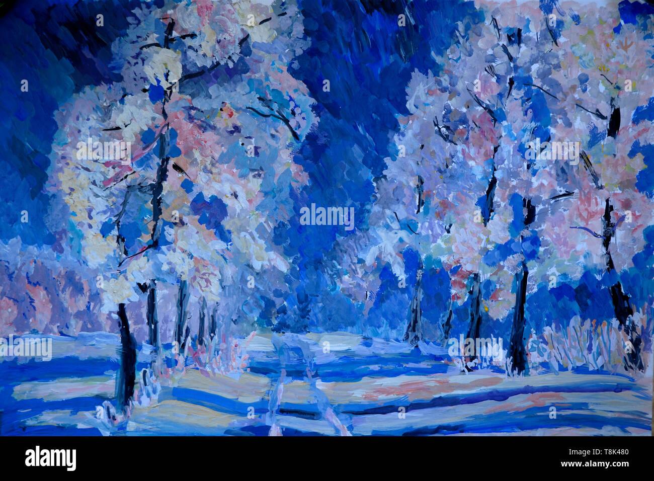Scena invernale, paesaggio, gouache pittura Immagini Stock