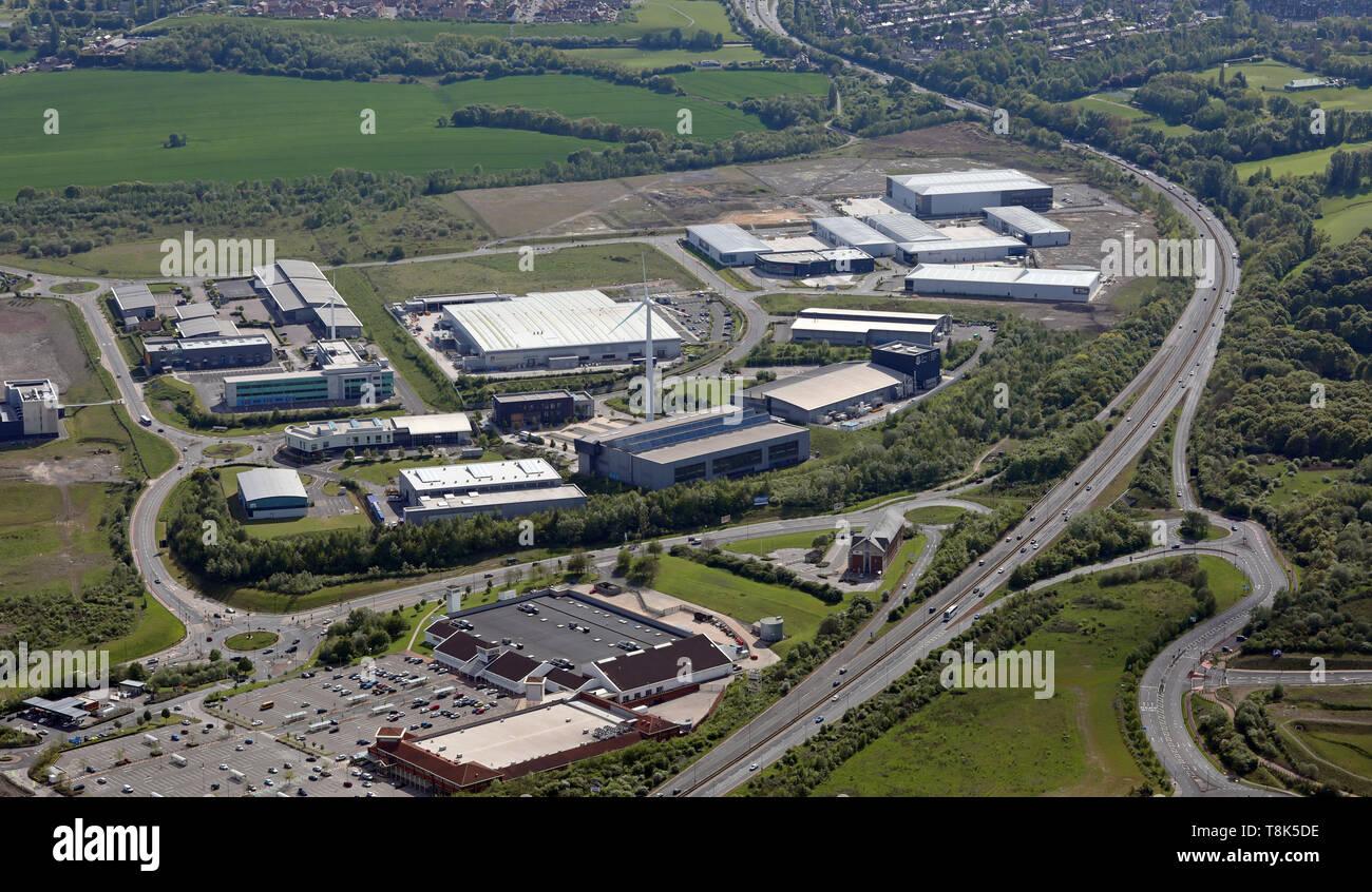 Vista aerea della fabbricazione avanzata Park, AMP, Catcliffe, Sheffield, Regno Unito Immagini Stock