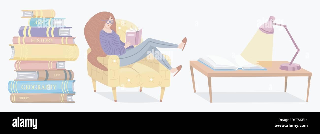 Elegante giovane femmina la lettura di un libro aperto. Amante della letteratura si siede sulla sedia. Pila di enciclopedie e Pagine invertite. I simboli e gli oggetti in Immagini Stock