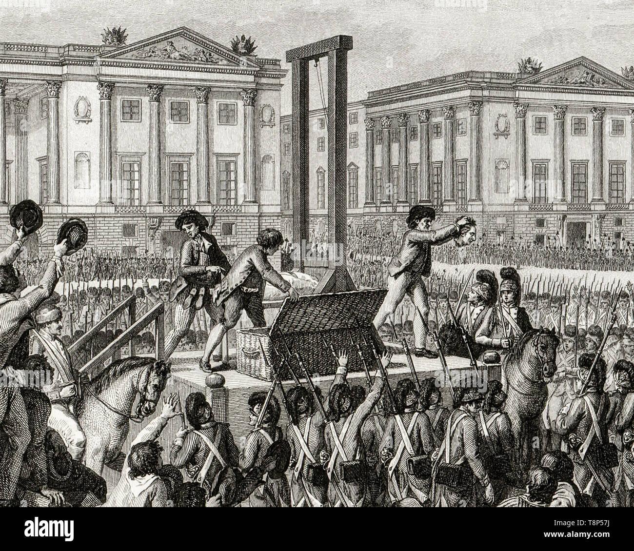 Rivoluzione francese. Esecuzione di Louis XVI. Il 21 gennaio 1793 la morte di Louis Capet (Luigi XVI) nella Place de la Rivoluzione, Parigi, incisione 1794 Immagini Stock