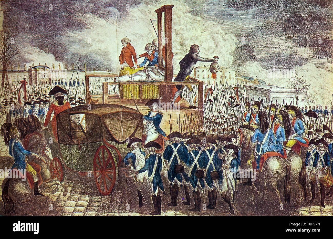 Rivoluzione francese. La morte di Luigi XVI. Esecuzione di Louis XVI Sulla ghigliottina, incisione su rame di Georg Heinrich Sieveking, 1793 Immagini Stock
