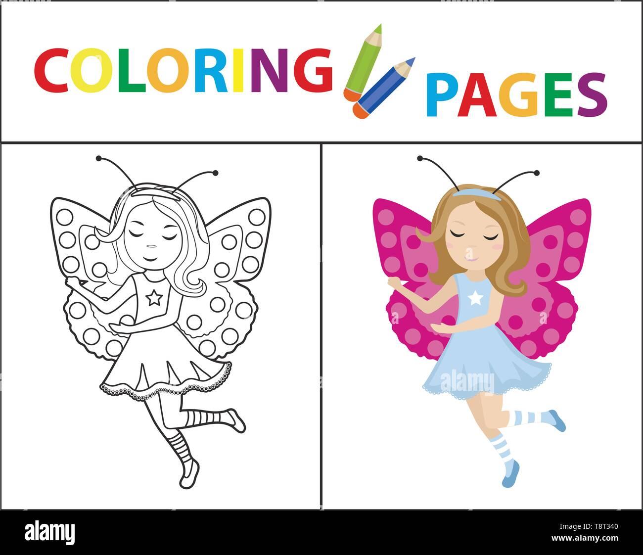 Libro Da Colorare Pagina Per I Bambini Ragazza Farfalla Costume
