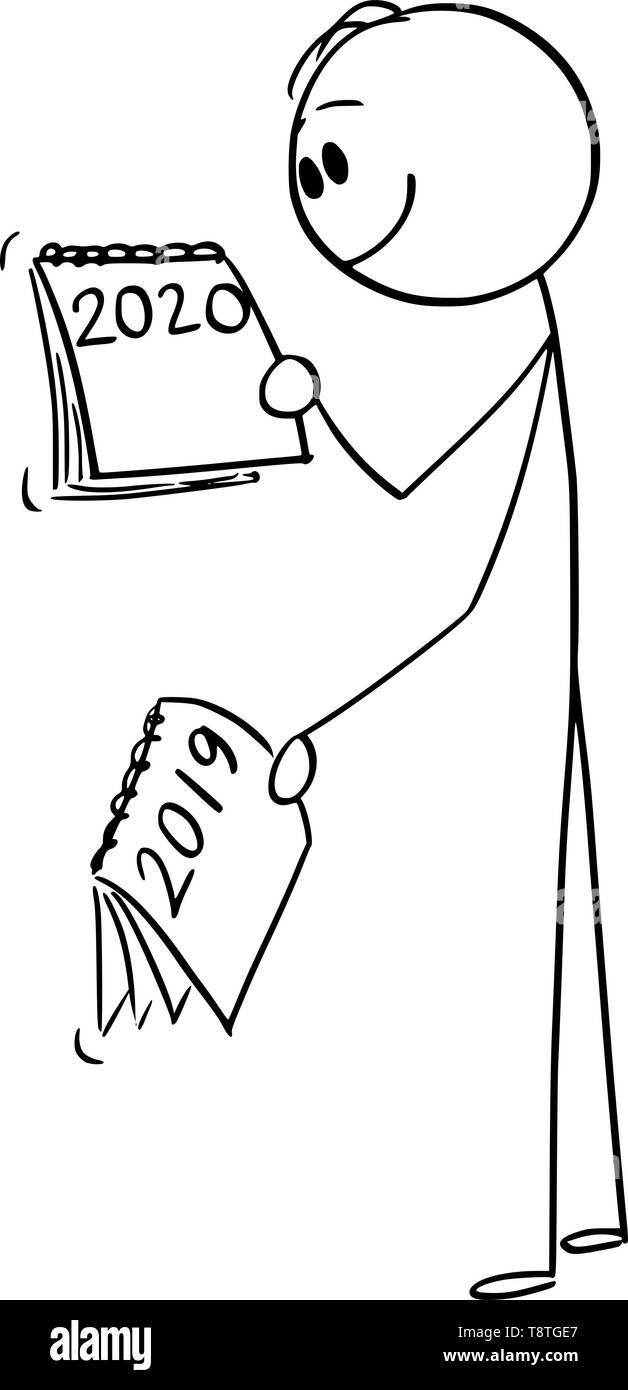 Calendario Uomo 2020.Vector Cartoon Stick Figura Disegno Illustrazione