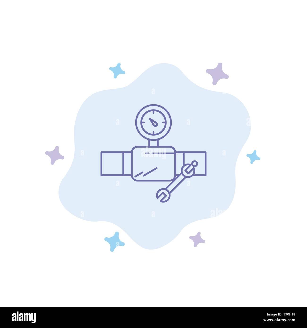 Tubo, la costruzione, la costruzione, riparazione, Gage icona blu su Abstract Sfondo nuvola Immagini Stock