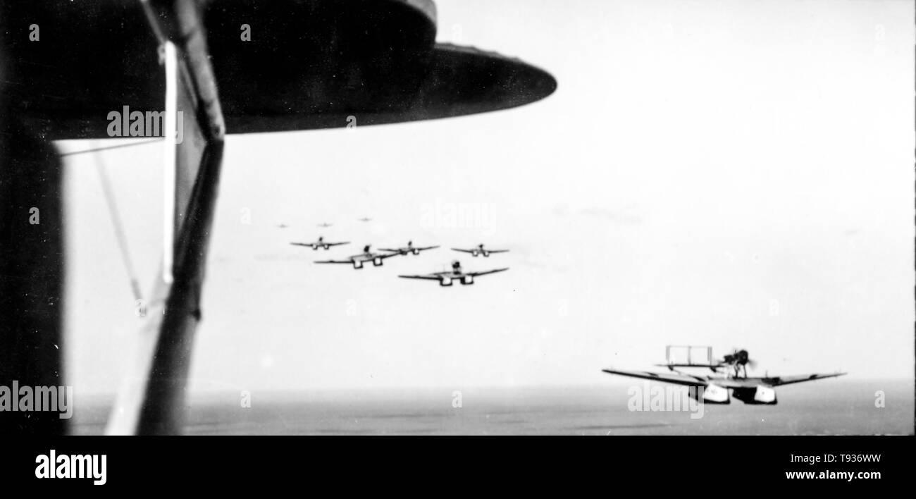 Il primo aereo transatlantico, crociera italia-Brasile, 1931 Immagini Stock