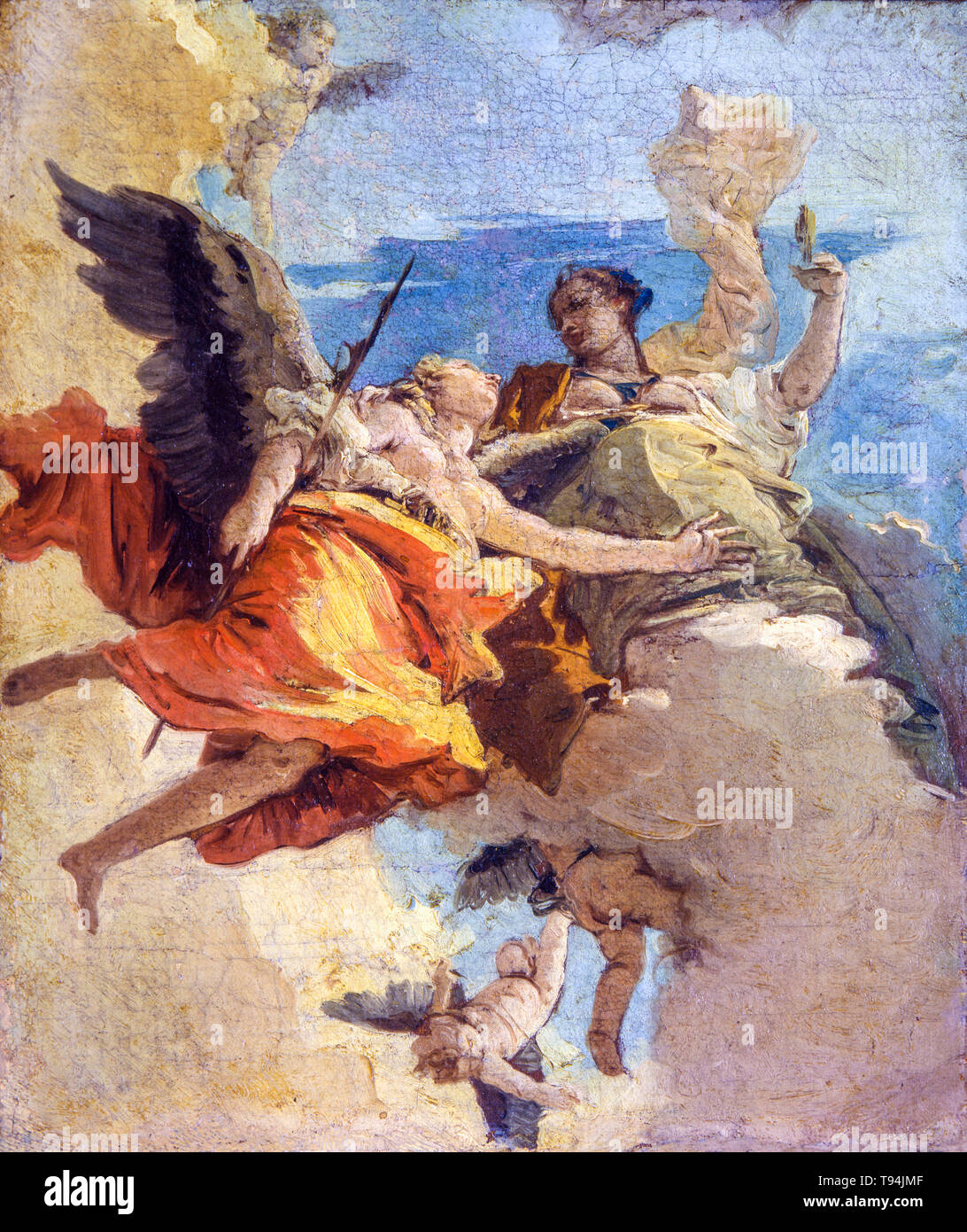 Giovanni Battista Tiepolo, allegoria della virtù e della nobiltà, pittura, c. 1740 Immagini Stock