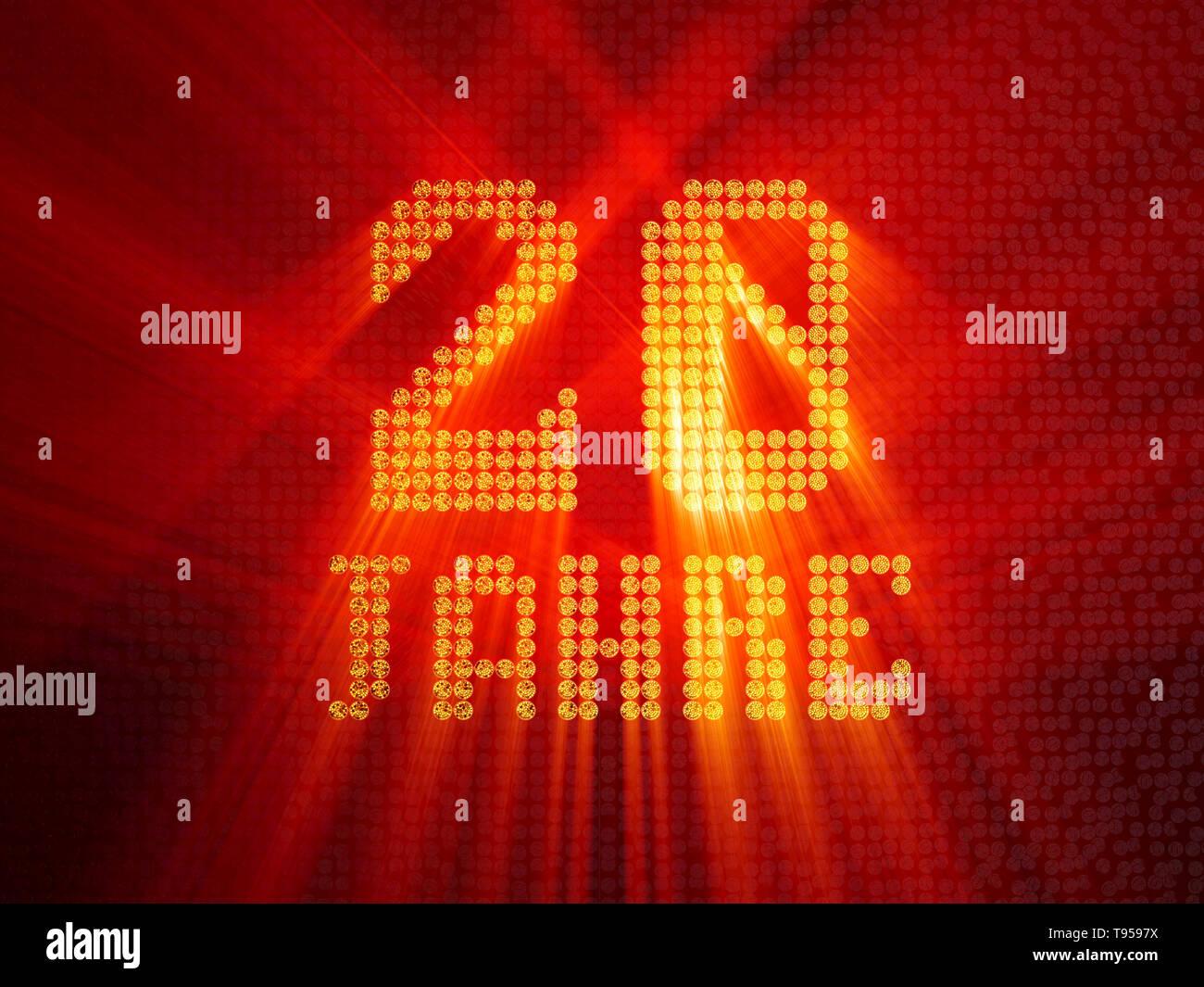 Tedesco Numero d'oro venti anni (numero venti anni) font tratteggiata, vista dall'alto, con i raggi di luce. 3D illustrazione Immagini Stock