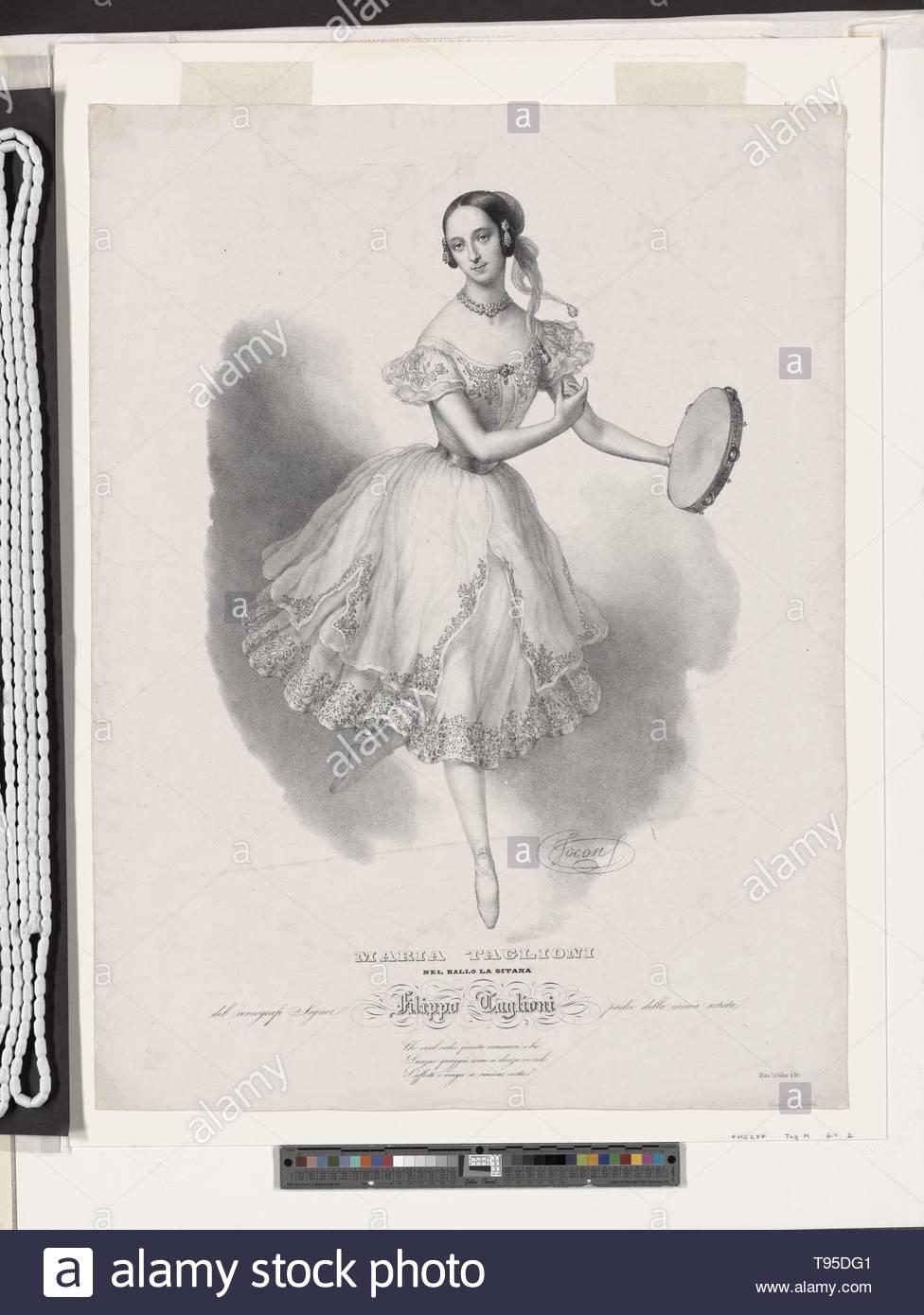 Anonymous-Maria Taglioni nel ballo La gitana, del coreografo il signor Filippo Taglioni, padre della esimia artista [seguita da tre linee di versi in italiano] Immagini Stock