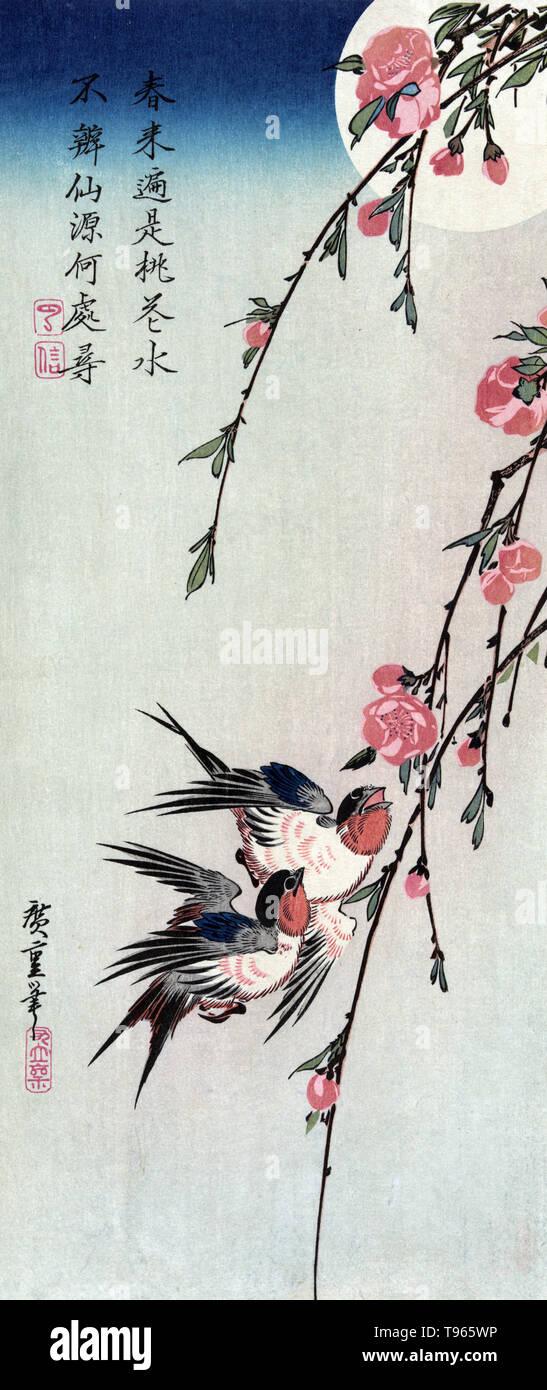 Antiques 2 Tradizionale Giapponese Uccello Stampe Wild Anatra Coppia Di Rondini Utagawa