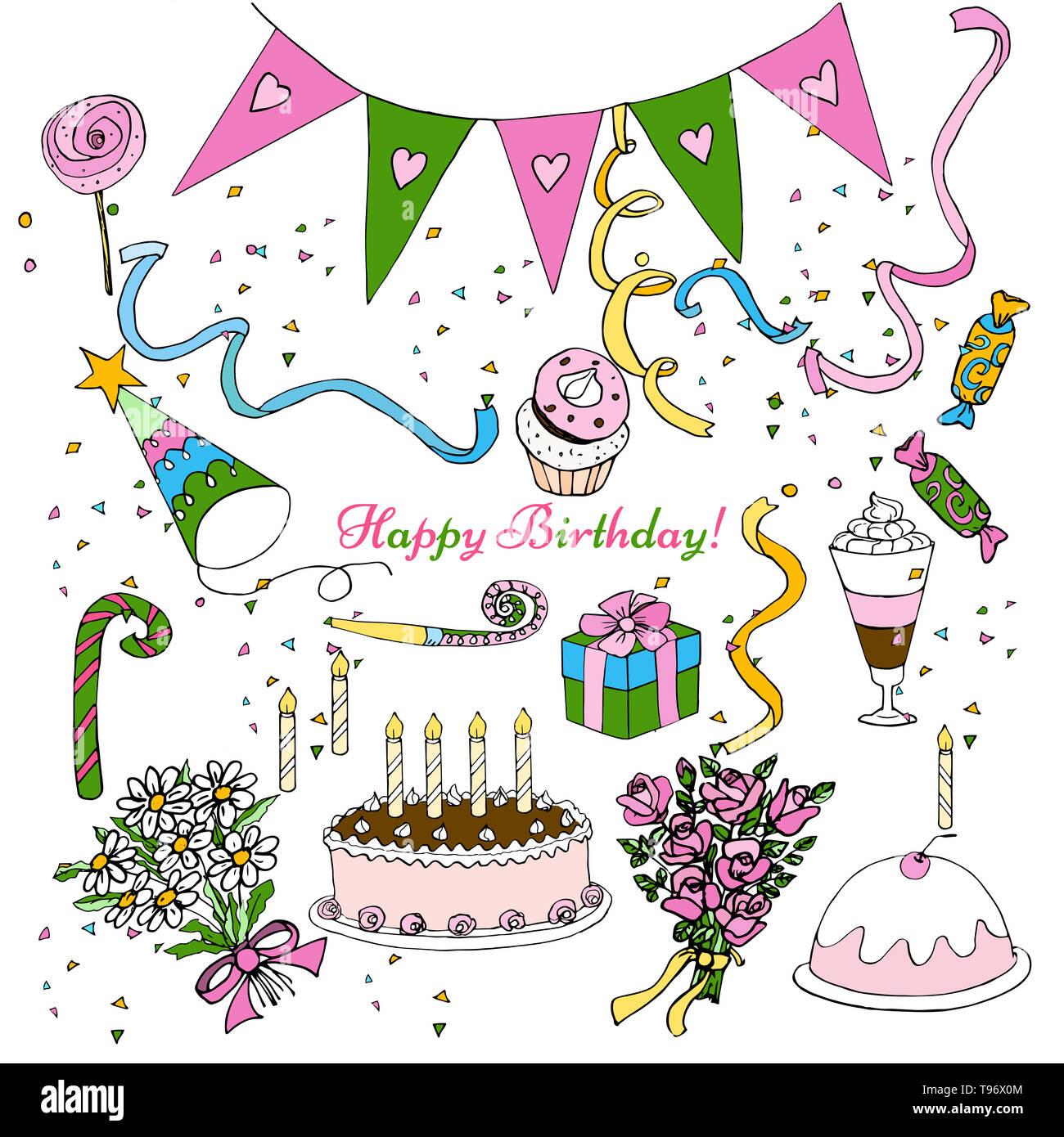 Disegnare a mano festa di compleanno clipart, isolato doodle set decorazione design Immagini Stock