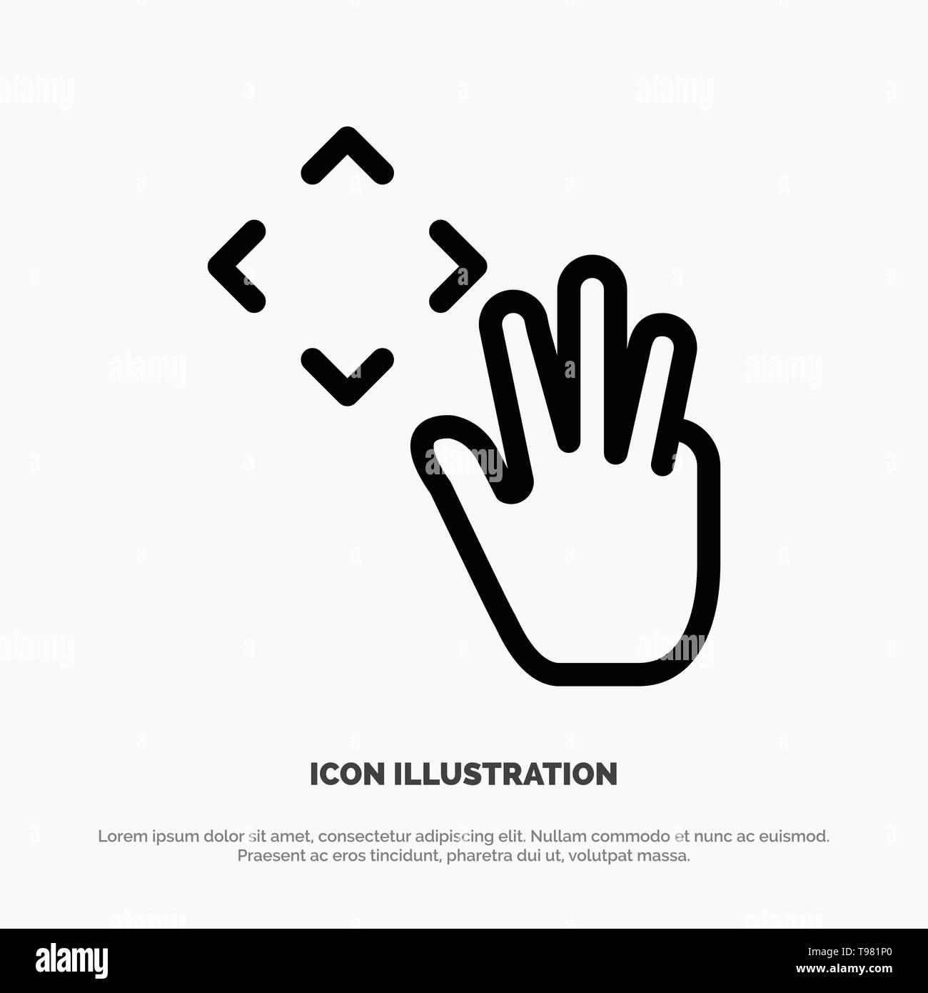 Mano, il cursore a forma di mano, fino, groppa Icona Linea vettore Immagini Stock