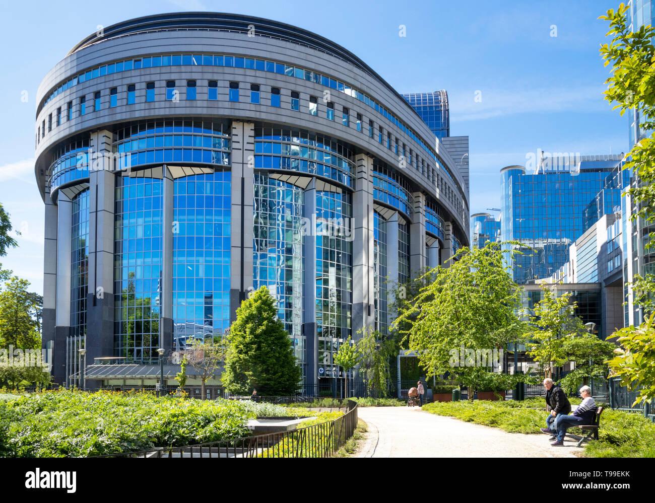Edificio del Parlamento europeo a Bruxelles ,l'emiciclo del Parlamento europeo, Parc Leopold, Leopold Park, Bruxelles,Belgio,UE,l'Europa Immagini Stock