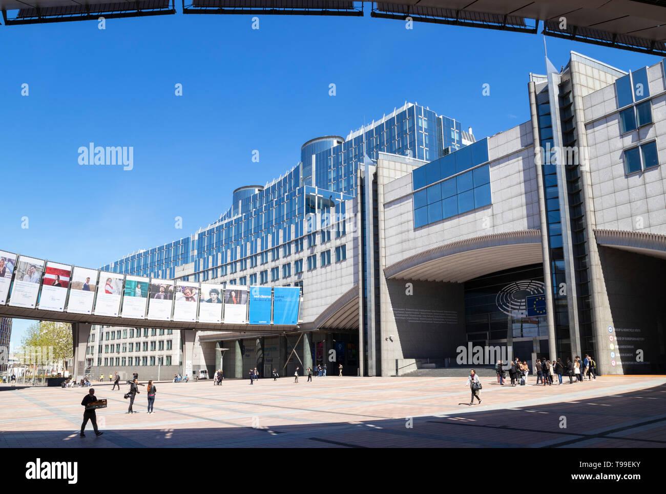 Esplanade Solidarnosc 1980, UE gli edifici del Parlamento europeo, Edificio del Parlamento europeo, edificio Altiero Spinelli, Bruxelles Belgio UE Europa Immagini Stock